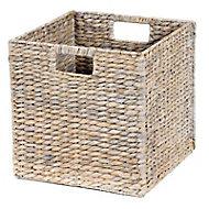 Boîte de rangement carrée en fibre naturelle Mixxit coloris gris