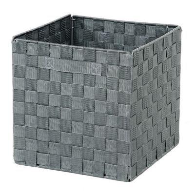 bo te de rangement carr e en tissu tress mixxit coloris gris castorama. Black Bedroom Furniture Sets. Home Design Ideas