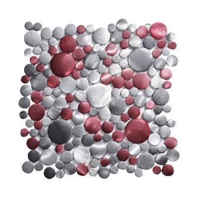 Mosaïque aluminium motifs ronds rouge et argent 30 x 30 cm Jada | Castorama