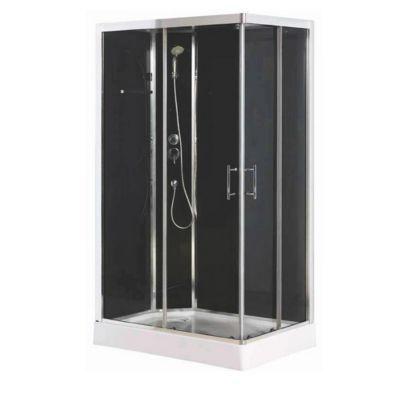cabine de douche noire cooke & lewis dive easy 80 x 80 cm