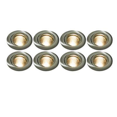 8 spots à encastrer métal acier Ø 8,2 cm GU10 40W