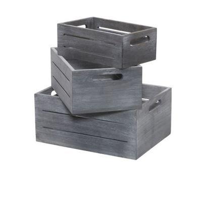 3 caisses de rangement en pin kazan coloris gris castorama. Black Bedroom Furniture Sets. Home Design Ideas