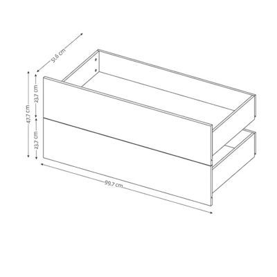 2 tiroirs couvrants chêne Form Darwin 100 cm