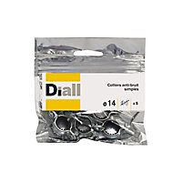 5 colliers anti-bruit simple Diall ø14 mm