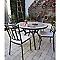 Table de jardin en métal et marbre Sofia ø110 cm