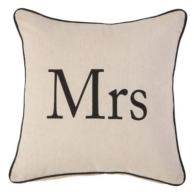 Coussin colours post mr mrs noir et blanc 45 x 45 cm