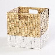 Boîte de rangement en fibre naturelle Mixxit coloris blanc