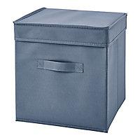 Boîte de rangement carrée en tissu Mixxit coloris bleu