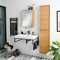 Armoire miroir décor chêne naturel GoodHome Avela 50 cm