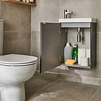 Meuble lave mains à suspendre GoodHome Imandra gris taupé L.44 x H.55 cm + plan vasque Beni