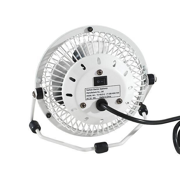 Mini Ventilateur Usb Tx 401d U Blanc O10 Cm 4w Castorama