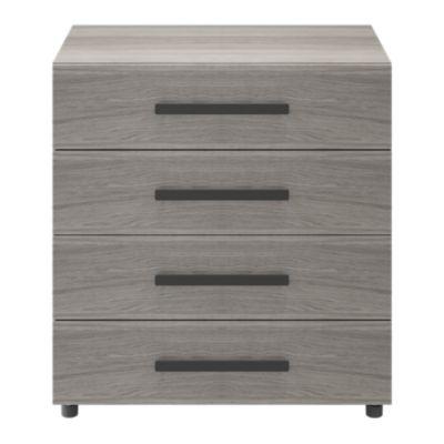 Commode sur pieds effet chêne grisé 4 tiroirs GoodHome Atomia H. 80 x L. 75 x P. 45 cm