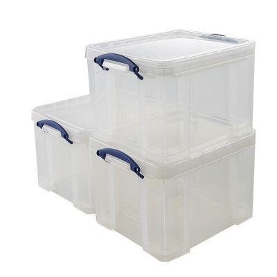 3 boîtes de rangement en plastique 35L transparent | Castorama