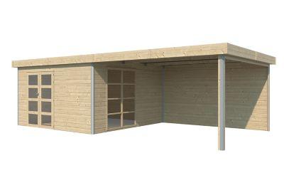 Abri de jardin bois Lindo 2 XL + pergola  16 97 + 16 48 m² ép.28 mm
