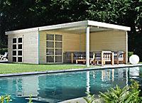 Abri de jardin bois Lindo 2 XL + pergola, 14,34 m² ép.28 mm