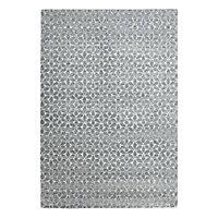 Tapis gris motifs géométriques blancs 160 x 230 cm