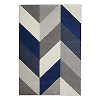Tapis chevrons gris, bleu et blanc 160 x 230 cm