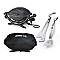 Barbecue électrique Weber Q1400 anthracite + housse + accessoires