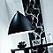 Suspension CADRE & LIGHT Slope noir/blanc Ø30 x h.30 cm