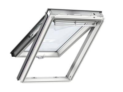 Fenêtre de toit à projection velux tout confort whitefinish bois peint en blanc l. 55 x h. 98 cm gpl 2057 ck04