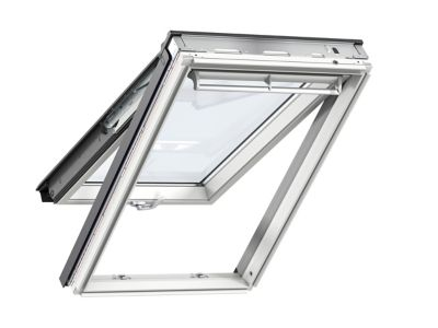 Fenêtre de toit à projection velux confort whitefinish bois peint en blanc l. 114 x h. 140 cm gpl 2076 sk08