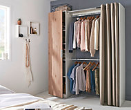 Kit dressing avec porte et rideau Scandi effet chêne clair H.200 x L.170 x P.49 cm