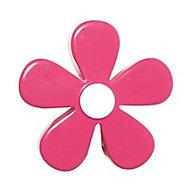 6 boutons de meuble Fleur résine fuschia 4,1 x 2,4 cm