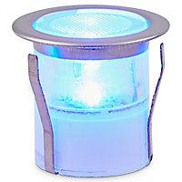6 spots solaires à encastrer LED Blooma Hattan chrome lumière bleue IP67