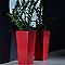 Pot carré plastique EURO3PLAST Kiam gloss rouge orient 30 x 30 x h. 67 cm