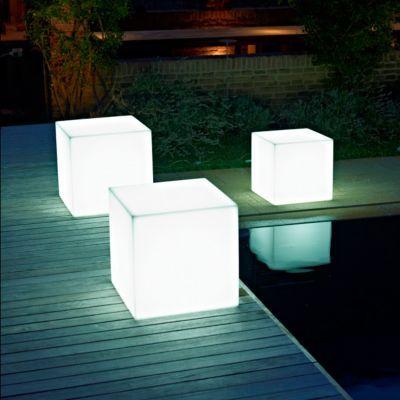 Pot lumineux carré plastique kit déclairage euro3plast kube light translucide 50 x 50 cm
