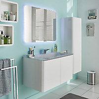 Colonne de salle de bains blanc brillant Ceylan