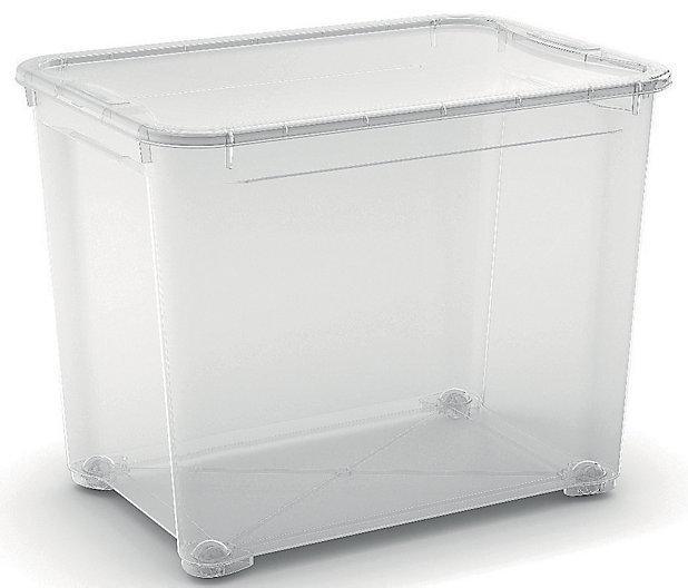 Bac De Rangement A Roulettes En Plastique 70l Transparent Castorama