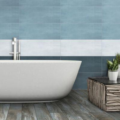 carrelage mur bleu clair 20 x 60 cm devore vendu au carton castorama. Black Bedroom Furniture Sets. Home Design Ideas