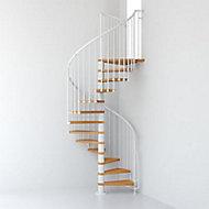 Escalier métal et bois Magia 70 Ø130 cm 10 marches + palier blanc/clair