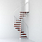 Escalier métal et bois MAGIA 70 Ø130 cm 10 marches + palier blanc/cerisier.