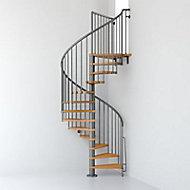 Escalier métal et bois Magia 70 Ø110 cm 11 marches + palier gris fonte/clair