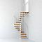 Escalier métal et bois MAGIA 70 Ø130 cm 11 marches + palier blanc/clair