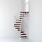 Escalier métal et bois MAGIA 70 Ø130 cm 11 marches + palier blanc/cerisier