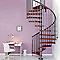 Escalier métal et bois MAGIA 70 Ø110 cm 13 marches gris fonte/cerisier
