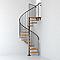 Escalier métal et bois Magia 70 Ø150 cm 14 marches + palier gris fonte/clair