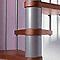 Escalier métal et bois MAGIA 70 Ø150 cm 15 marches gris fonte/cerisier
