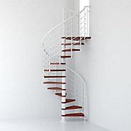 Escalier métal et bois Magia 70Xtra Ø110 cm 10 marches + palier blanc/cerisier