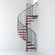 Escalier métal et bois Magia 70Xtra Ø110 cm 11 marches + palier gris fonte cerisier