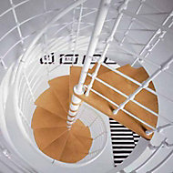 Escalier métal et bois Magia 70Xtra Ø130 cm 12 marches blanc/clair