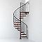 Escalier métal et bois Magia 70Xtra Ø130 cm 11 marches + palier gris fonte/cerisier