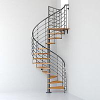 Escalier métal et bois Magia 70Xtra Ø150 cm 11 marches + palier gris fonte/clair