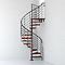 Escalier métal et bois Magia 70Xtra Ø150 cm 11 marches + palier gris fonte/cerisier