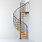 Escalier métal et bois Magia 70Xtra Ø110 cm 12 marches + palier gris fonte/clair
