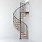 Escalier métal et bois MAGIA 70xtra Ø150 cm 12 marches + palier fonte/clair