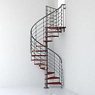 Escalier métal et bois Magia 70Xtra Ø130 cm 14 marches + palier gris fonte/cerisier